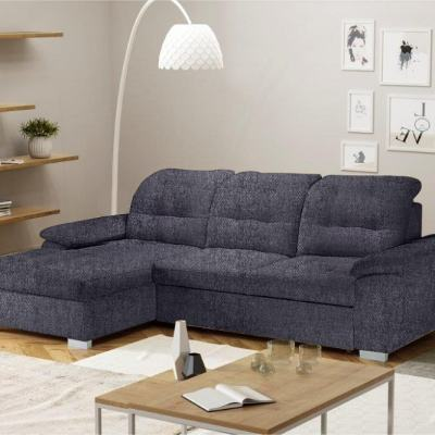 Chaise Longue Sofa with High Backrest, Reclining Headrests, Bed and Storage - Windzor. Left Corner, Grey Inari 94 Fabric