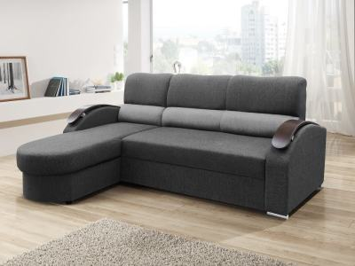 Chaise Longue Sofa Bed with Wooden Arms - Padua. Grey Fabric. Corner on the Left
