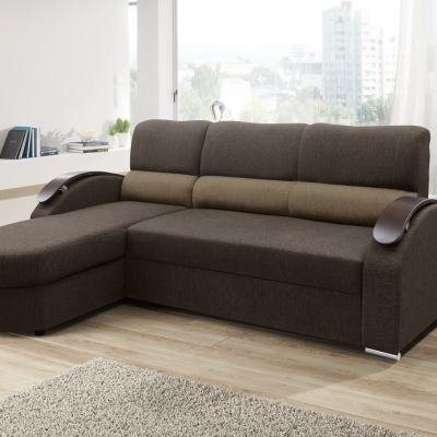 Chaise Longue Sofa Bed with Wooden Arms - Padua. Brown Fabric. Corner on the Left