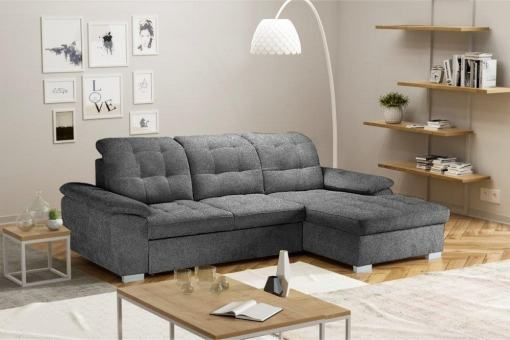 Chaise Longue Sofa with High Backrest, Reclining Headrests, Bed and Storage - Windzor. Right Corner, Grey Alfa 19 Fabric