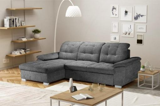 Chaise Longue Sofa with High Backrest, Reclining Headrests, Bed and Storage - Windzor. Left Corner, Grey Alfa 19 Fabric