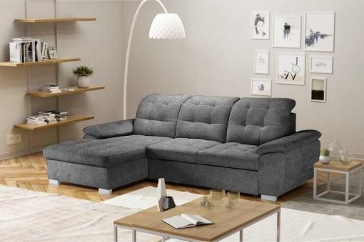 Угловой диван с кроватью и регулируемыми подголовниками - Windzor. Левый угол. Серая ткань (Alfa 19)