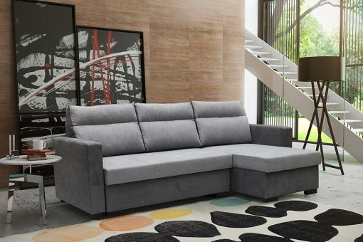 """Угловой диван-кровать с системой """"лёгкая транcформация"""" - Edmonton. Светло-серый + серый цвет. Правый угол"""