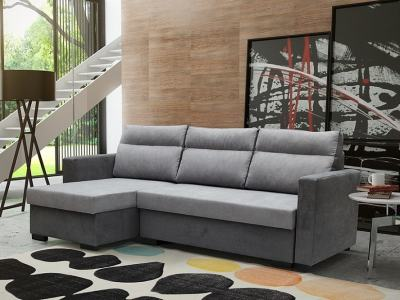 "Chaise Longue Sofa bed ""Easy Unfolding"" - Edmonton. Light grey and grey fabrics. Corner on the left"