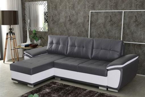 Sofá chaise longue cama en polipiel gris y blanca - Kingston. Chaise longue lado izquierdo