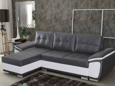 Chaise Longue Sofa Bed in Faux Leather - Kingston. Grey and White Faux Leather. Left Corner