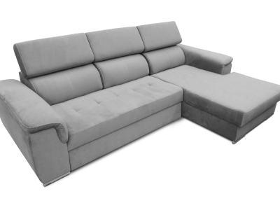 Sofá chaise longue cama, máximo confort - Hamburg. Tela Lido 15 (gris). Chaise longue lado derecho.