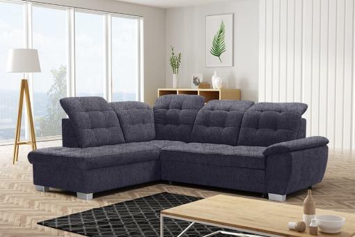 Corner Sofa with High Backrest, Reclining Headrests, Bed and Storage - Hamilton. Left Corner. Dark Grey Fabric - Inari 94