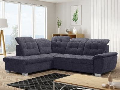 Corner Sofa with High Backrest, Reclining Headrests, Bed and Storage - Hamilton. Left Corner. Grey Fabric - Inari 94