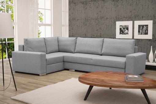 Sofá rinconera con cama plegable, esquina izquierda, color gris claro – Harbour