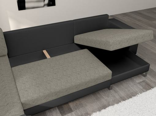 2 Storage Compartments of the U-shaped Sofa with Pull-out Bed - Bristol