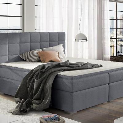 Cama doble tapizada 160 x 200 cm, 2 arcones - Isabella. Color gris (Soro 93)