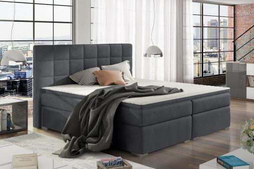 Cama doble tapizada 160 x 200 cm, 2 arcones - Isabella. Color gris oscuro (Soro 95)