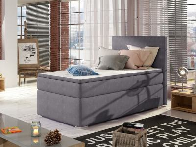 Односпальная кровать 90 x 200 см с местом для хранения - Amelia. Серая ткань
