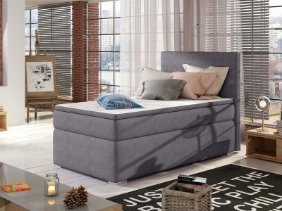 Single Storage Bed Upholstered in Fabric, 90 x 200 cm - Amelia. Grey Fabric (Soro 93)
