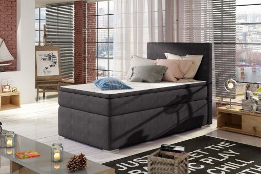 Single Storage Bed Upholstered in Fabric, 90 x 200 cm - Amelia. Dark Grey Fabric (Soro 95)
