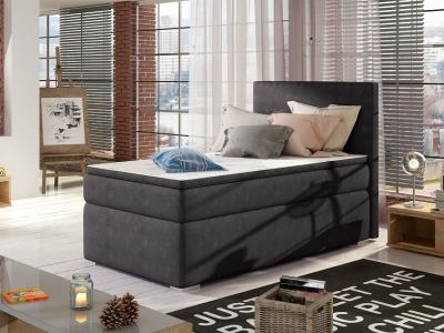 Single Storage Bed Upholstered in Fabric, 90 x 200 cm - Amelia. Dark Grey Fabric (Soro 95)