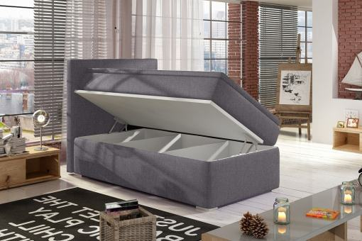 Left Side Opening. Grey Fabric (Soro 93). Single Storage Bed Upholstered in Fabric, 90 x 200 cm - Amelia