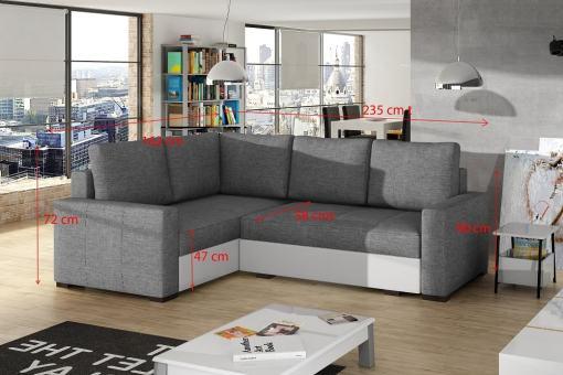 Medidas de pequeño sofá rinconera modelo Brighton