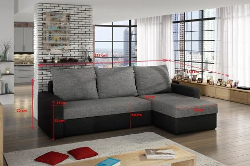 Dimensions of Sofa Bed with Chaise Longue and Storage - Derby