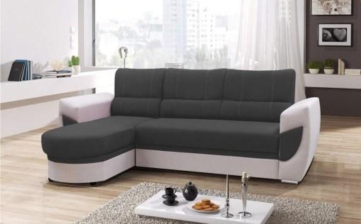 Sofá cama con chaise longue curvo de diseño - Alpera. Gris, blanco. Chaise longue lado izquierdo