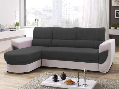 Sofa Bed with Chaise Longue and Storage - Alpera. Grey and White Colours. Chaise Longue on the Left