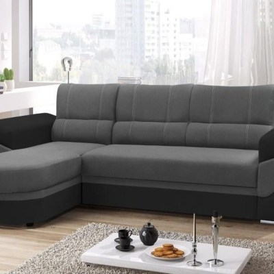 Sofa Bed with Chaise Longue and Storage - Alpera. Grey and Black Colours. Chaise Longue on the Left