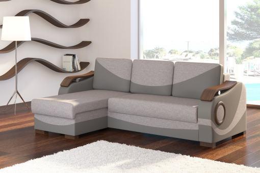 Sofá chaise longue cama con reposabrazos de madera - Leeds. Tela gris (Sawana 21) - polipiel gris (Soft 29). Chaise longue lado izquierdo
