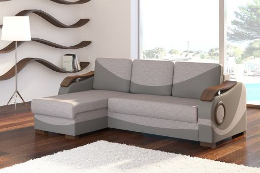 Chaise Longue Sofa with Pull-out Bed and Wooden Armrests - Leeds. Grey Fabric and Faux Leather. Corner on the Left