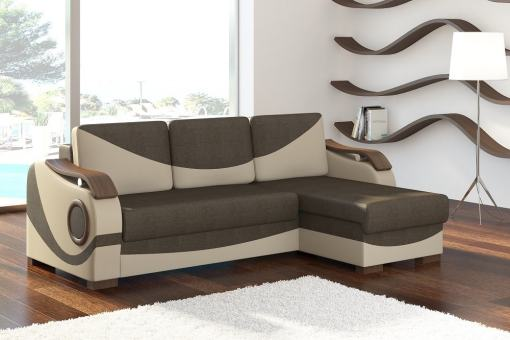 Chaise Longue Sofa with Pull-out Bed and Wooden Armrests - Leeds. Brown Fabric. Beige Faux Leather. Corner on the Right