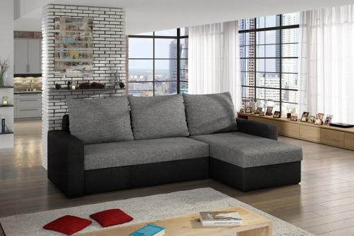 Sofa Bed with Chaise Longue and Storage - Derby. Grey and black fabrics. Chaise longue on the right