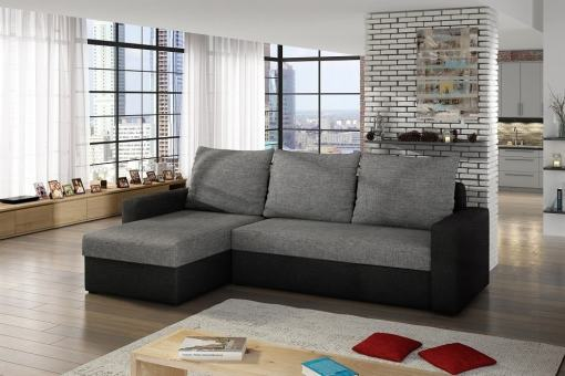 Sofa Bed with Chaise Longue and Storage - Derby. Grey and black fabrics. Chaise longue on the left