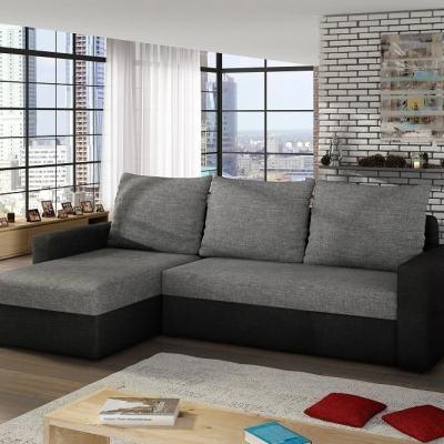 Sofá chaiselong cama con arcón en colores gris y negro Derby - (Tela Sawana 21 -14). Chaiselong lado izquierdo