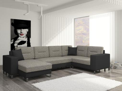 Sofá en U económico con cama y 2 arcones - Bristol. Tela marrón (Berlin 01) - Polipiel negra (Soft 11). Esquina lado derecho