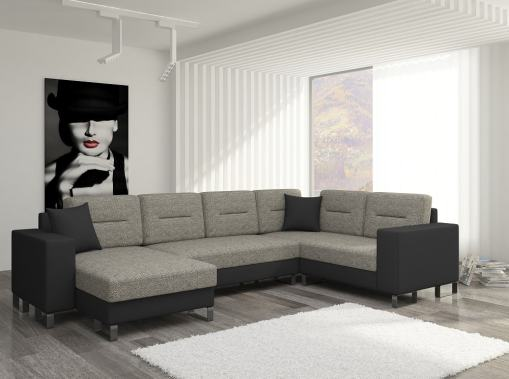 Affordable U-shaped Sofa with Pull-out Bed and Storage - Bristol. Brown Fabric, Black Faux Leather. Corner on the Right