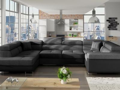 """Угловой диван-кровать в форме буквы """"П"""" (2 угла) - Coventry. Тёмно-серая ткань, чёрный кожзаменитель. Правый угол"""