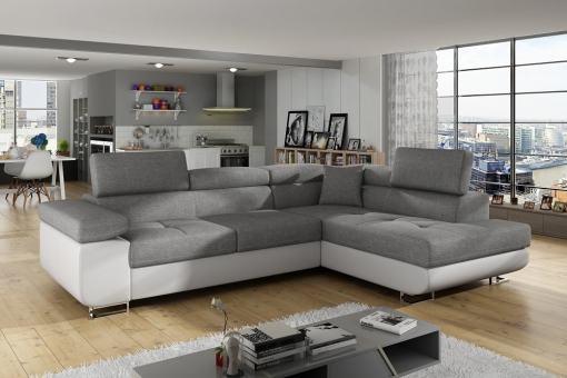 Sofá rinconera cama con arcón y reposacabezas reclinables - Manchester. Esquina lado derecho. Colores gris claro (tela inari 91) y piel sintética blanca (soft 17)