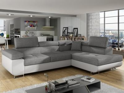 Corner Sofa Bed with Storage Upholstered in Fabric and Synthetic Leather - Manchester. Light Grey Fabric, White Faux Leather. Corner on the Right