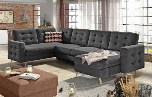 U-shaped Corner Sofa Convertible Into Bed - Copenhagen. Left Corner. Dark Grey Fabric