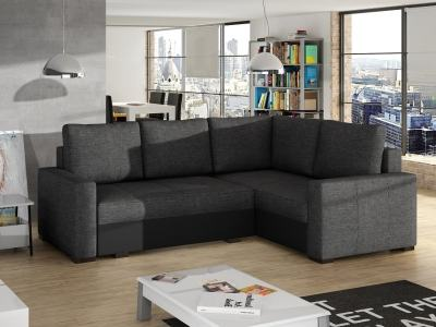 Small corner sofa with bed and storage - Brighton. Dark grey fabric. Black faux leather. Corner on the right