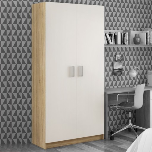 2 Doors Wardrobe in White and Light Brown - Rimini