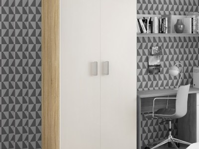 2 Doors Wardrobe in White and Light Brown - Rimini