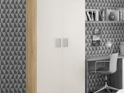 Двухдверный платяной шкаф (белый с коричневым) – Rimini