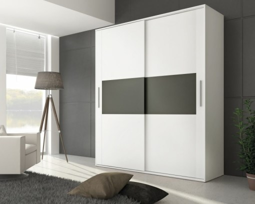 2 door sliding wardrobe - Cremona. White color with grey front elements