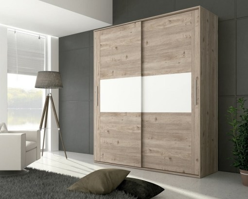 2 door sliding wardrobe - Cremona. Brown color with white front elements