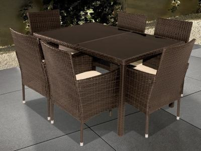 Patio Dining Set for Six (7 Piece Set) - Agosto. 6 Chairs and a Table