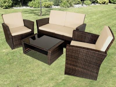Conjunto de ratán sintético mesa de centro, sofá 2 plazas, 2 sillones - Julio