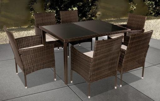 Conjunto de ratán sintético - seis sillas y una mesa - Agosto