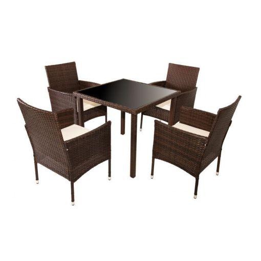 Conjunto jardín cinco piezas - mesa cuadrada más cuatro sillas con brazos - Abril