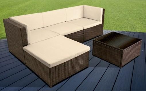 Conjunto jardín sofá chaise longue con cojines y mesa de centro – Mayo